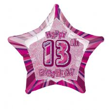 Pink Glitz 'Happy 13th Birthday' Foil Balloon